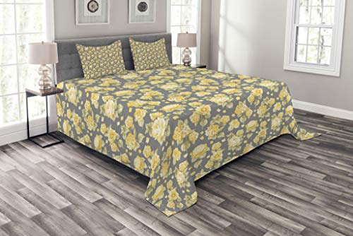 Chrysanthemum Quilt Fabric - Ambesonne Flower Bedspread Set King Size, Hydrangea Chrysanthemum Hortensia Pattern Countryside Old Style Illustration, Decorative Quilted 3 Piece Coverlet Set with 2 Pillow Shams, Green Yellow