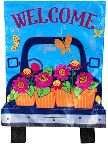- Briarwood Lane Spring Pickup Applique Garden Flag Welcome Floral 12.5