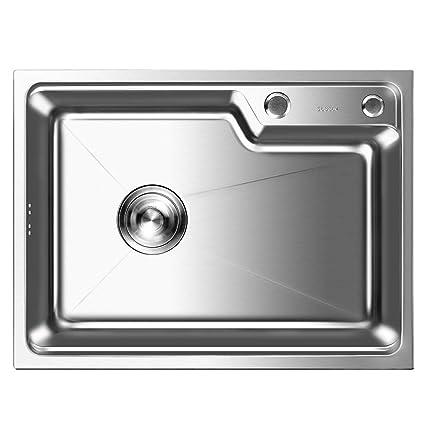 Auralum - Fregadero de Un Seno para Cocina de Acero Inoxidable (58 x 43 x 22 cm) | Fregaderos de Cocina Acero un Seno con 2 Agujeros de Montaje y ...