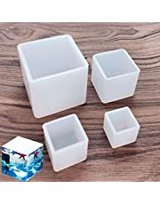 Luckkyme Resin Casting Molds Square Mold Cube Silicone Molds for DIY Craft Making Silicone Clear Casting Molds, 4Size