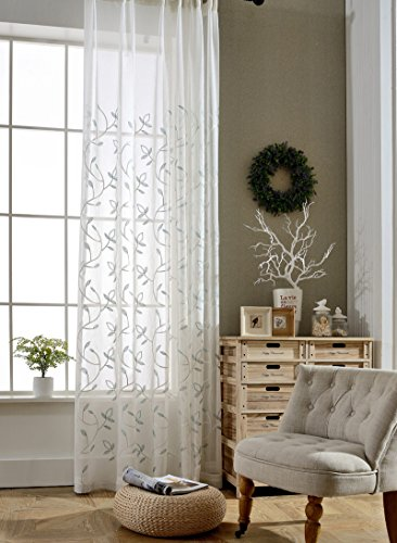 TIYANA Leaf Curtain Sheer Panel for Living Room 84 inch Length Extra Wide Leaf Embroidery Shiny Threads White Backdrop Sheer Gauze Tulle Voile Drape Custom Window Curtain Panel 1 Piece 114x84 inch