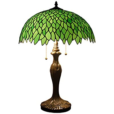24 inch Tall Tiffany Style Table Lamp 2 Light Pull Chain Green Wisteria Stained Glass Lampshade Zinc Base Beside Desk Lamp