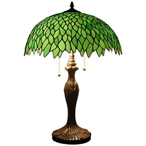 Tiffany Style Table Lamp Stained Glass Beside Desk Lamps 24 Inch Tall 2 Light Pull Chain Green Wisteria Lampshade Antique Base for Living Room Coffee Table Bedroom S523 WERFACTORY