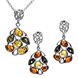Multicolor Amber Sterling Silver Earrings Pendant Necklace Set Chain 18''