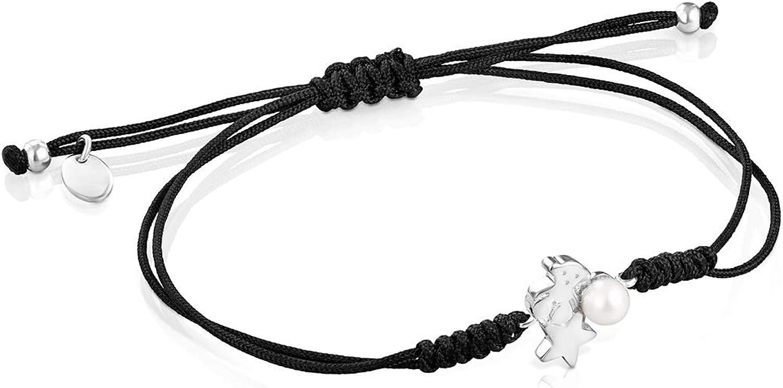 TOUS Pulsera Nocturne de Plata con Perla y Cordón Negro