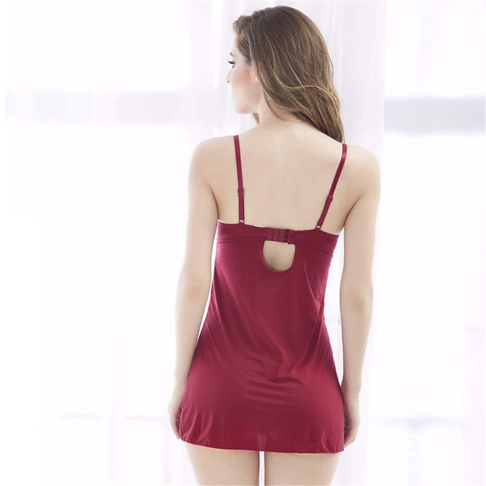 Diversión sexy Corte Sexy Seduction Encaje Corte sexy Tenedor Correa Corto Vestido/Acero Stud Lencería/Tanga,Rosa Rojo,S 6912a5