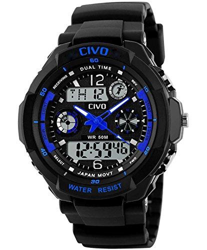 CIVO Mens Boys Analogue Digital Sport Watch Waterproof Business Casual Fashion Military Wrist Watch (Blue) price tips cheap