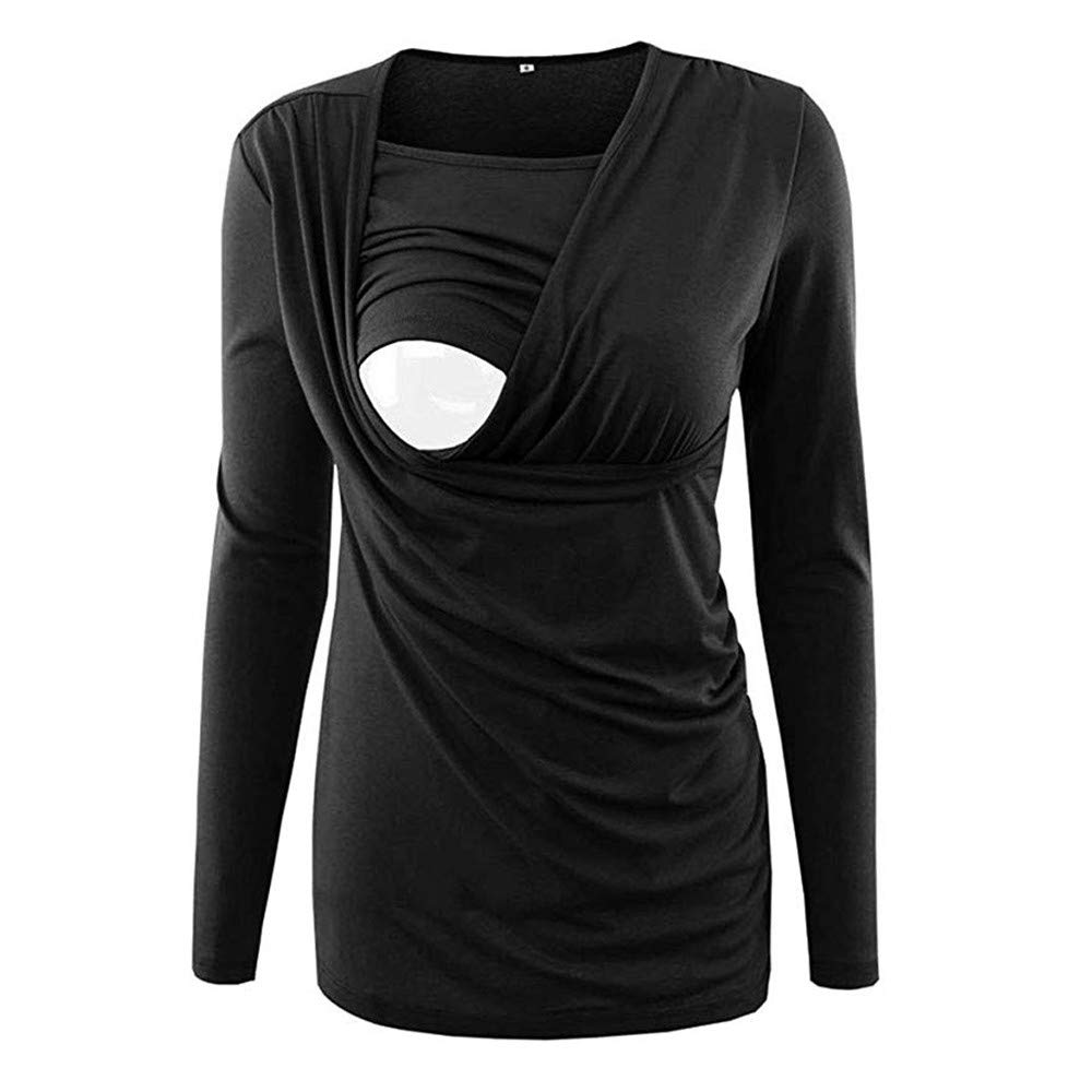 Women Maternity Nursing Ruched Side Top Long Sleeve Breastfeeding Pregnancy Clothes (XXL, Black)