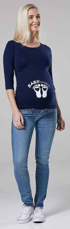 Top 195p Happy Mama Damen Mutterschaft Baby F/ü/ße Bauch T-Shirt Hemd