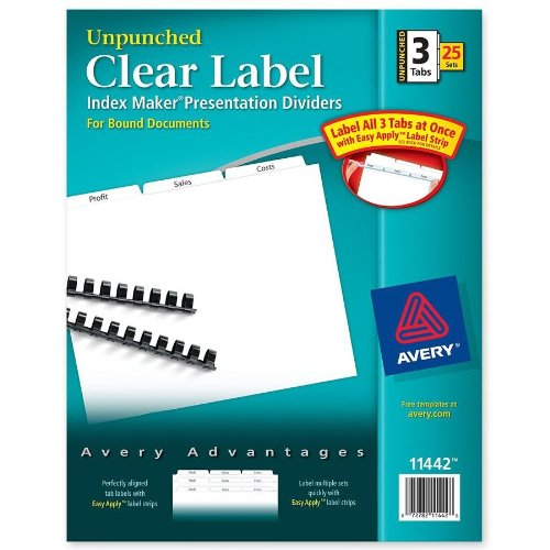 Avery - Index Maker Clear Label Unpunched Divider, Three-Tab, Letter, White, 25 Sets - Pack of 3