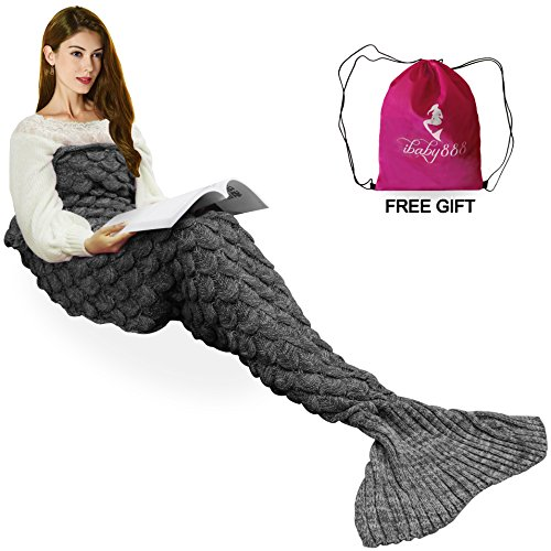 Handmade Knitted Mermaid Tail Blanket , T-tviva All Seasons Warm Crochet Bed Blanket Sofa Quilt Living Room Sleeping Bag for Kids and Adults(72.8×35….
