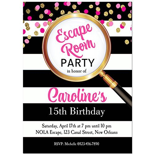 Pink Escape Room Party Invitations with ANY Wording Printed or Printable - Escape room, mystery, Party Invitation - Glasses Printable Invitations