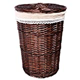 WEIYV-Laundry Hampers Sorter Basket Dirty Clothes Storage Basket Bedroom Living Room Wicker Vine Garden Wind Weaving Storage Basket Allegory (Color : Covered-Brown, Size : 42cm50cm)