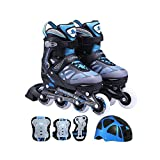Cougar 733 Speedster Kids Inline Skates and Gear Combo (Azure Blue, Medium)