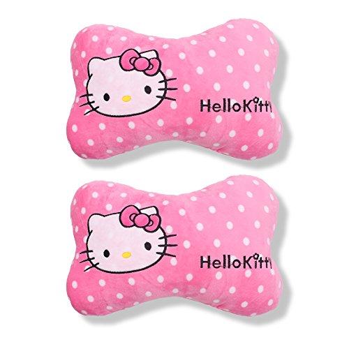 Finex Set of 2 Hello Kitty Pink Bone shaped Head Neck Rest Cushion for Car White Polka ()