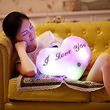 Christmas Pillow case ,IEason Cute Design Heart Glow LED Pillow Light Soft Cushion Gift Home Plush Children (pink)