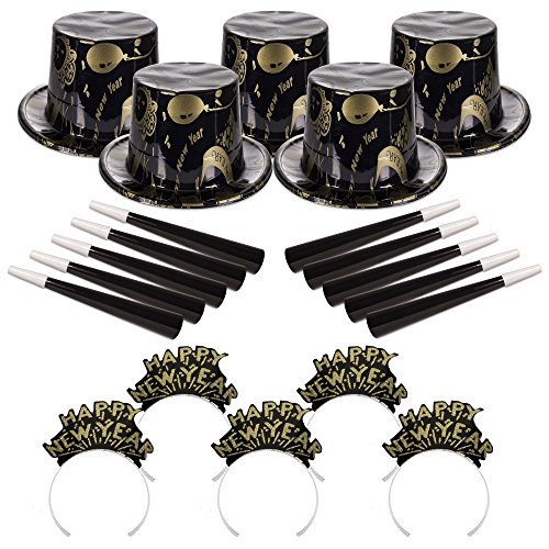 New Years Party Kit - Ebony and Gold Kit for 50