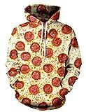Uideazone Unisex 3D Realistic Digital Pizza Print Pullover Hoodie Hooded Sweatshirt