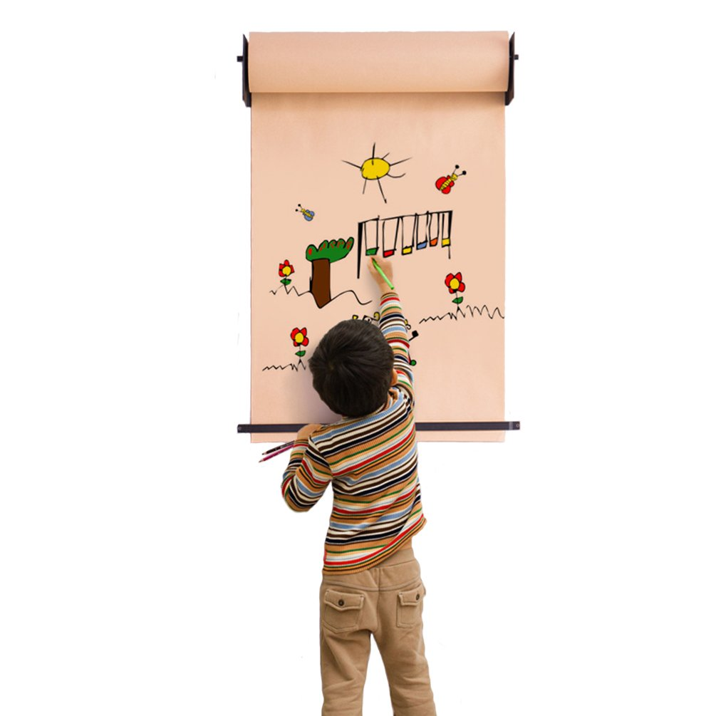 Baoyouni Children Toy Hanging Wall Easel Kids Adult DIY Drawing Roller Paper and Iron Frame Home Decor for Artist Studio, Living Room, Study, Bedroom, Cafe Shop