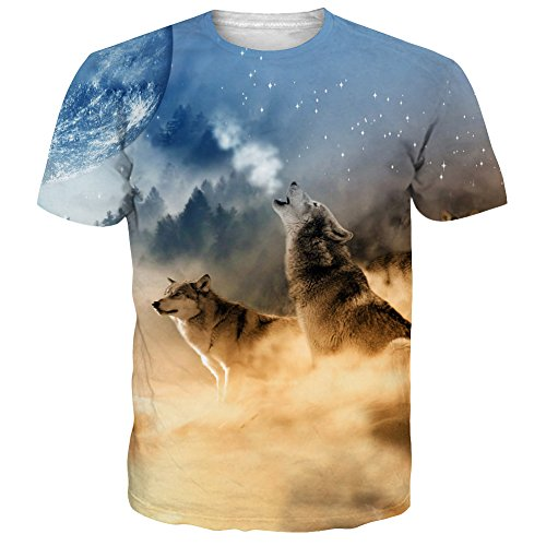 NEWISTAR Teens 3d Desert Wolf Moon Short Sleeve T-Shirt Tees l (Moon Wolf T-shirt)