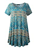 Veranee Women's Plus Size Swing Tunic Top Short Sleeve Floral Flare T-Shirt (XXX-Large, 56-4)