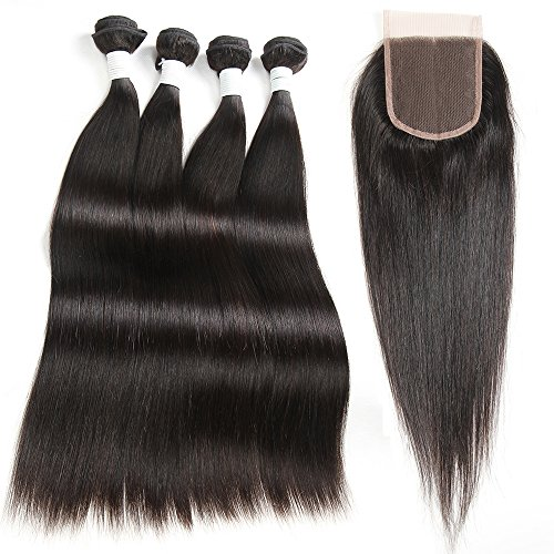Miss CARA Hair Malaysian Straight Hair With Closure 4 Bundles Straight Hair With Closure 100% Unprocessed Human Hair Extensions Nature Color Mixed Length (12 14 16 18+10)