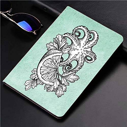 Compatible with 3D Printed iPad Pro 10.5 Case Octopus with Lemon and Parsley 360 Degree Swivel Mount Cover for Automatic Sleep Wake up ipad case