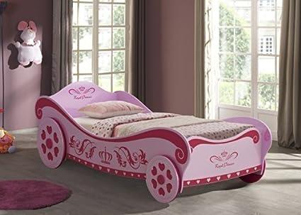 Letto per bambine a forma di carrozza rosa da principessa amazon