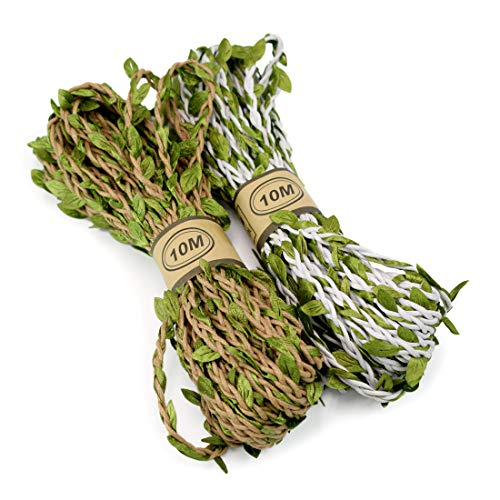 ZIIYAN 2-Pack Artificial Vine Natural Hemp Rope Fake Green Ivy Leaves Foliage Leaf Plant for Macrame Wall Decor Garland Rustic Wedding Home Garden Decor Party Supplies, 2 Colors, Total 66 Feet from ZIIYAN