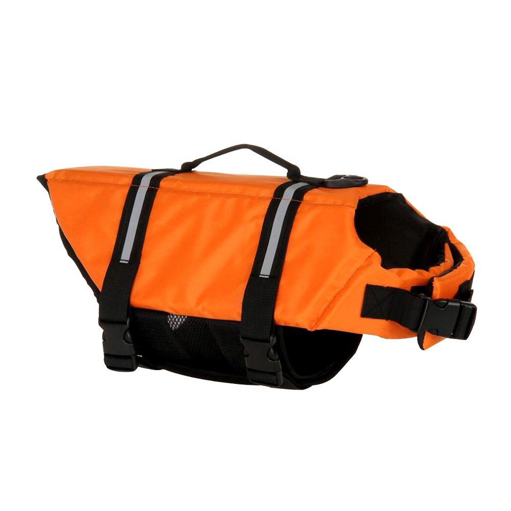 G Lake Dog Life Jacket Pet Flotation Vest with Reflective Stripes Adjustable Safety Swimsuit Puppy Saver Preserver for Swimming Training Boating (L, Orange) by G Lake