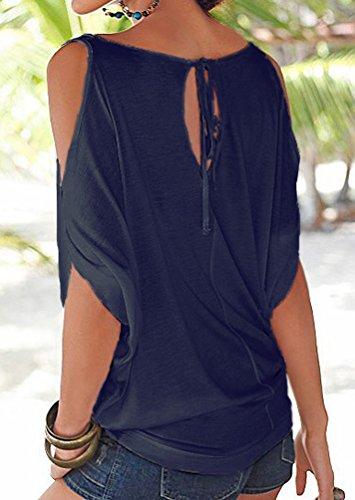 ISSHE Rundhals T Shirt Schulterfrei Damen Sommer Lockere T Shirts Kurzarm  Frauen Oversize Shirt Tops Schöne ... d6056ec4b8