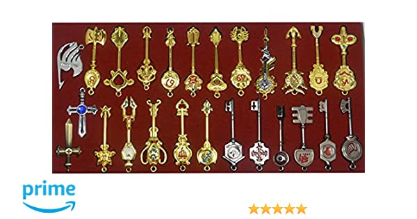 Cosplay Fairy Tail Keys New Collection Set of 25 Golden Zodiac Keys and Keyring£¬ Blade Lucy Natsu Dragneel Heart Keychain Pendant (Red Logo)