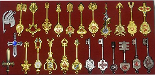 Cosplay Fairy Tail Keys New Collection Set of 25 Golden Zodiac Keys and Keyring£¬ Blade Lucy Natsu Dragneel Heart Keychain Pendant (Red -