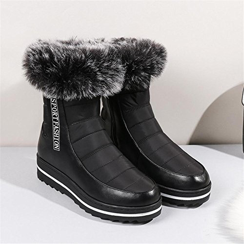 NVXIE Womens Snow Boots Leisure Comfortable Flat Non-slip Artificial PU waterproof Black Fall Winter Outdoor EUR43UK9 elI52Q5w