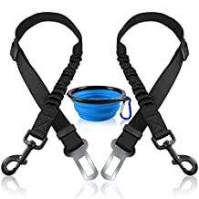 2 Pcs Pet Dog Seat Belt with Collapsible Pet bowl, FineGood Elastic Nylon Adjustable Safety Leads Vehicle Car Harness Seat Leash Tether for Cat Dog