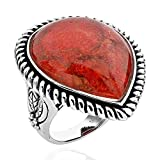 Sterling Silver Pear-Cut Red Sponge Coral Antique Finish Solitaire Ring