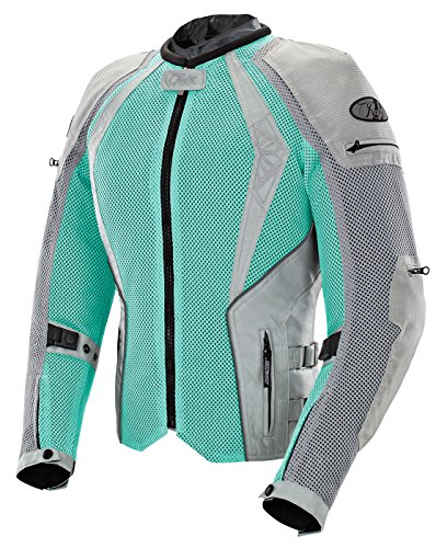 Joe Rocket Cleo Elite Women's Mesh Motorcycle Jacket (Mint/Silver, Medium) (Touring Womens Jacket)