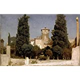 polyster Canvas ,the Beautiful Art Decorative Canvas Prints of oil painting 'Frederic Lord Leighton The Villa Malta Rome ', 8 x 12 inch / 20 x 31 cm is best for dining Room gallery art and Home decoration and Gifts