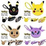 15*15 cm. 4pcs/set Pokemon Pikachu Eevee Espeon Umbreon Plush Purse Mini Wallet Coin Bag Plush Anime Animal Stuffed Plush Plushies Doll Toys