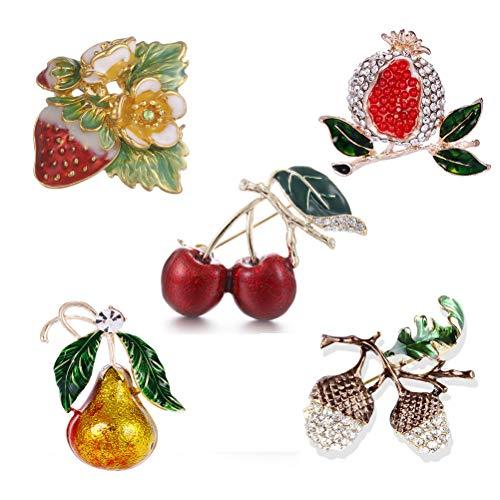 (Ioffersuper 5 Pcs Cherry Strawberry Pear Pomegranate and Grape Rhinestone Crystal Metal Brooch Pin, Brooch Jewelry Kit for Girls Women)