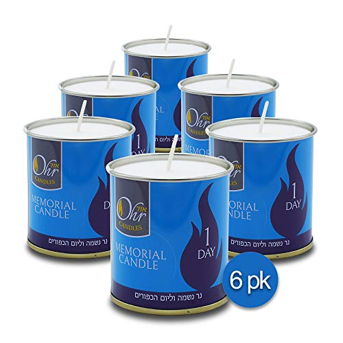 Ohr-1-Day-Yahrzeit-Candle-6-Pack-24-Hour-Kosher-Yahrtzeit-Memorial-and-Yom-Kippur-Candle-in-Tin-Cup-Holder