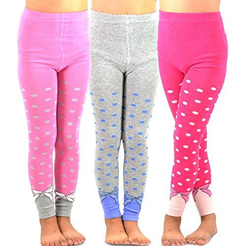 TeeHee Kids Girls Fashion Cotton Leggings(Footless Tights) 3 Pair Pack (6-8 Years, Dots & Bows)
