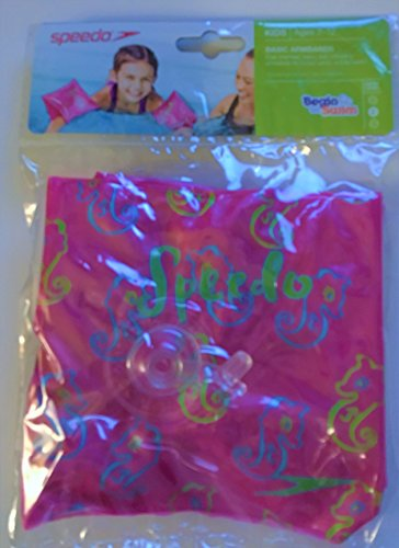 Speedo Basic Arm Bands for Kids 2-12 -Pink/Green