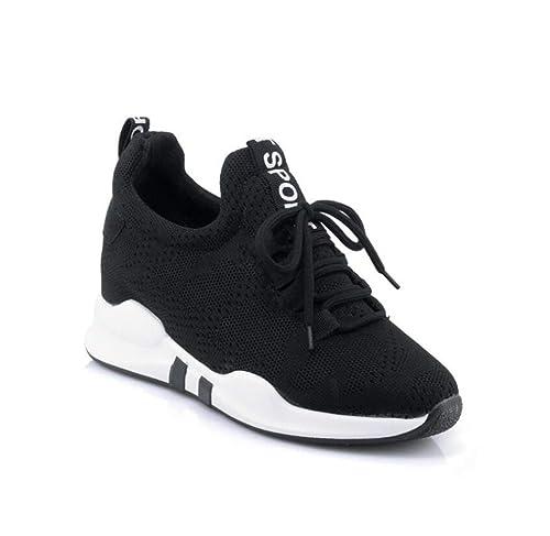 mogeek Damen Sneakers Keilabsatz 5.5cm Sportschuhe Atmungsaktive Mesh Wedges Outdoor Freizeitschuhe