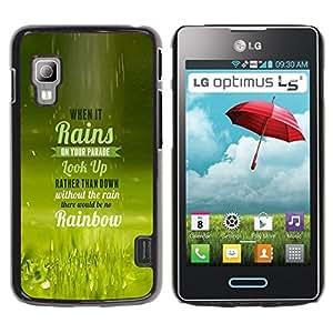 TopCaseStore / la caja del caucho duro de la cubierta de protección de la piel - Rain Parade Rainbow Look Up Quote Life - LG Optimus L5 II Dual E455 E460