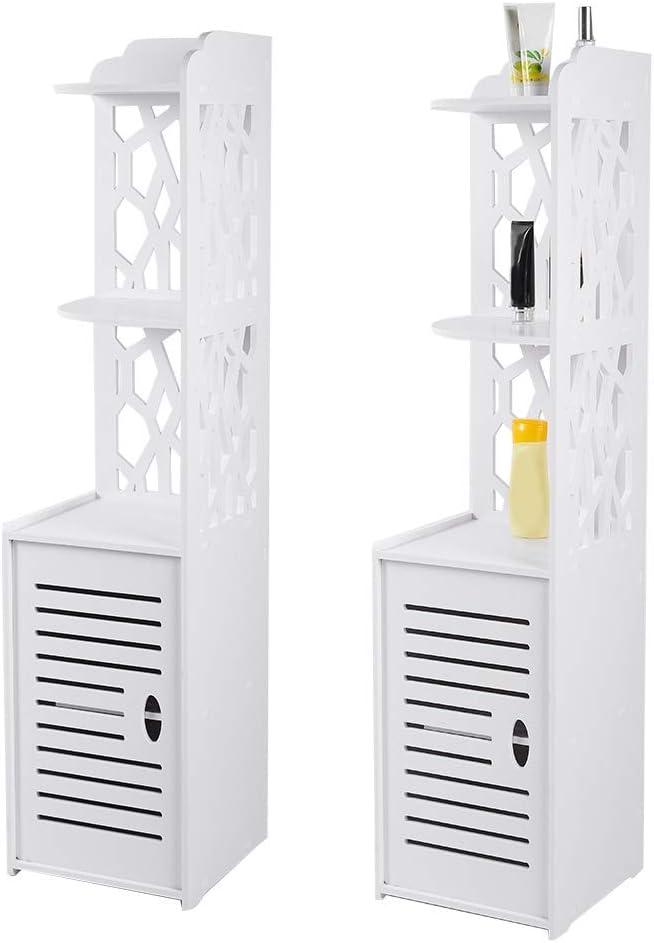 Floor Cabinet Tall Bathroom Corner Cabinet Hollow Out Slim Bathroom Cabinets Waterproof Standing Corner Shelf Free