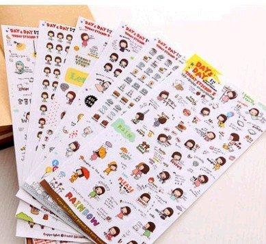 12 Sheets Happy Girl DIY Cartoon Decorative Sticker Tape,Kids Craft Scrapbooking Sticker Set for Diary, Book,Phone and Photo Album