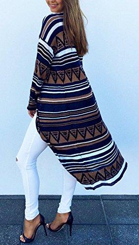 Casuale Battercake Stampato Donna Outerwear Eleganti Casual V Geometrico Vintage Jacket Donne Cappotto Lunga Cardigan Lungo Autunno Giacche Manica Etnico Fashion Bianca Stile Neck q8OHEqwxr