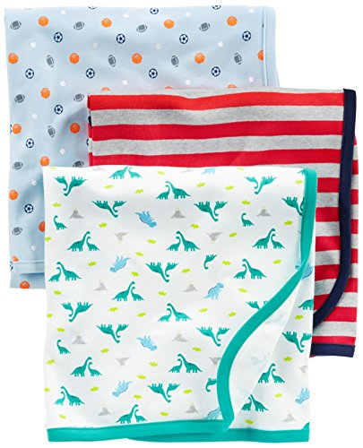 Simple Joys by Carter's Baby Boy's 3-Pack Cotton Swaddle Blanket, White/Red/Navy, One Size