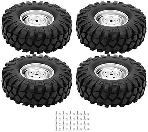 Dilwe 4Pcs RC Neumáticos de Coche Ruedas de Goma con Cubos para 1/10 Escala RC Crawler Off-Road Truck Car